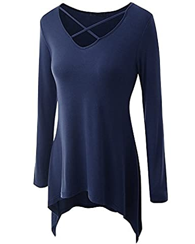 Women's Criss Cross Front Tunics V Neck T Shirts Long Sleeve Tops for Women