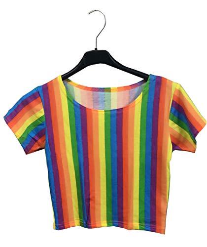 Wicked Nights LTD Crazy Chick LGBT Damen Mädchen Regenbogen-Streifen, Mehrfarbig, kurzärmelig Gr. Small/Medium, - Top Gay Kostüm