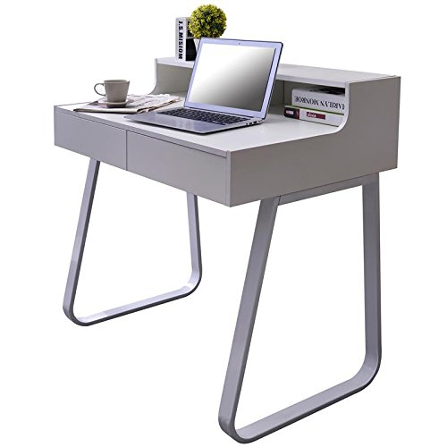 Cheap SixBros. Computer Desk – PC Workstation – Office Desk – White – CT-3532/1185 Special