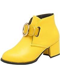 UH Femmes Chaussures Bottines de Cheville avec Lacets à Talons Bloc Bout  Pointu avec Fourrure Chaud e97227fb5ea8