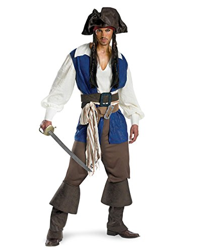 Captain Jack Sparrow Kostüm Teen Deluxe Pirates Of The Caribbean-Kostüm, Teen, Brustumfang: 96,5 101.60 cm Höhe 5'22.86 cm - 5'27.94 cm