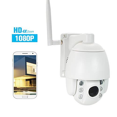 Extaum WiFi-Überwachungskamera 1080P im Freien PTZ (4fach optischer Zoom) Drahtlose IP-Dome-Kamera Leichtgewichtig Wasserdicht 2,8-12 mm Nachtsichtbild 2,5
