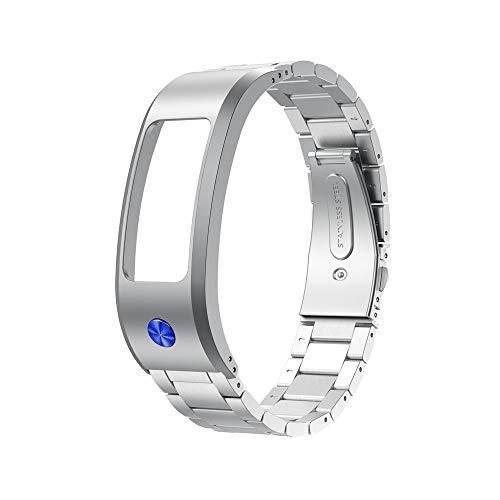 Upxiang Edelstahl Armband Kompatibel für Garmin Vivofit 2 Fitness Smartwatch Zubehör Sport Ersatz Armband Mode Uhrenarmband für Herren Damen