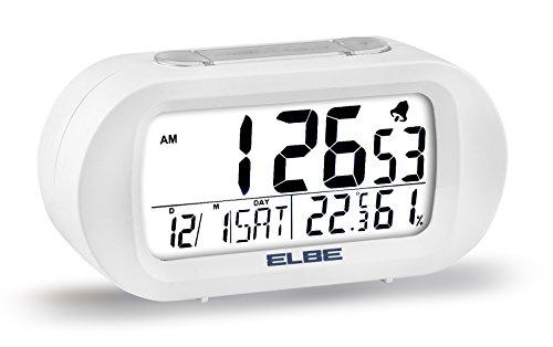 Elbe RD-009-B Reloj despertador con termómetro, adecuado para viajar, display LCD 3,1'', función snooze...