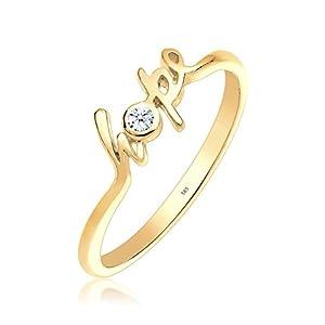 Elli PREMIUM Damen-Ring Statement-Schriftzug Hope 585 Gelbgold Diamant (0.03 ct) weiß Brillantschliff