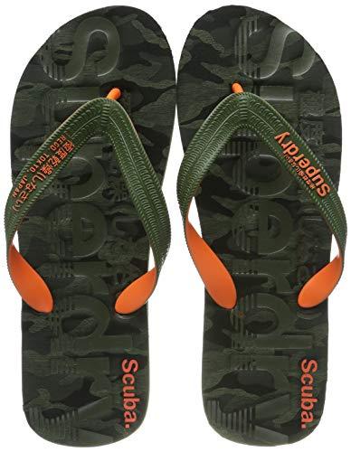 Superdry Herren Zehentrenner Zehentrenner SCUBA GRIT FLIP FLOP, Mehrfarbig (Khaki Camo/Khaki/Orange X2b), 42/43 EU (Herstellergröße: M)