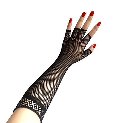 Amorar Sexy Fischnetz Lange Handschuhe Kostüm Zubehör Half-Finger Punk Style Handschuhe Neuheit Handschuhe für Party Night Club Besondere Anlässe Hochzeitshandschuhe,EINWEG Verpackung