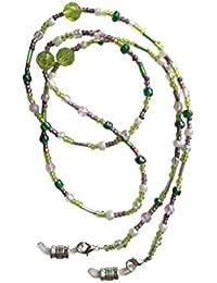 NEW Stunning Lime, Dusky Pink & Pearl Glass Beaded Eye Glasses Sunglasses Chain Strap Holder