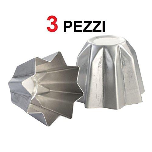 3 pz forma stampo tortiera pandoro da 1kg 23xh17 alluminio cucina casa natale