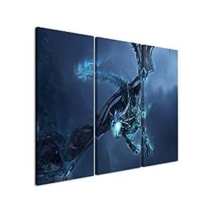 Kunstdruck World_of_Warcraft_Ice_Dragon_3x60x30cm (Gesamt 100x60cm) _Ausführung qualitativ hochwertiges Keilrahmenbild auf echter Leinwand als Wandbild auf Keilrahmen