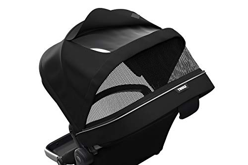 Thule Sleek Sibling Seat, Black Thule Ventilated canopy with peekaboo window and extendable sun visor gives your child a pleasant ride in any weather and provides UV protection (UPF 50+) Comfortable large seating area, with generous sitting height and foot well Reversible seat for parent- or forward-facing position 6