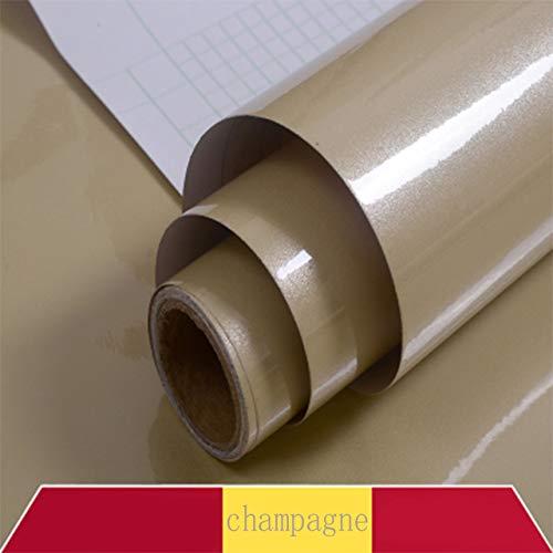 lsaiyy DIY Selbstklebende dekorative glänzende tapete für möbel Schlafzimmer kleiderschrank Schrank einfarbig Kontakt Papier wohnkulturChampagner 10 mt x 40 cm