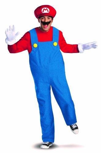 Generique Mario Deluxe-Verkleidung für Erwachsene XL (Berühmte Schnurrbärte Kostüme)