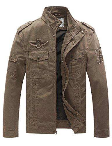 WenVen Homme Blouson Léger en Coton Veste Militaire Style Classique Armée Automne Kaki Large