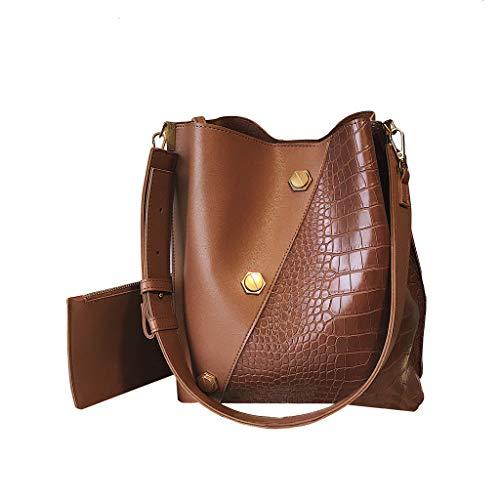 XZDCDJ UmhängeTaschen Damen Handtasche 2 Stücke Mode Frauen Alligator Leder Crossbody Taschen Messenger Griff Tasche