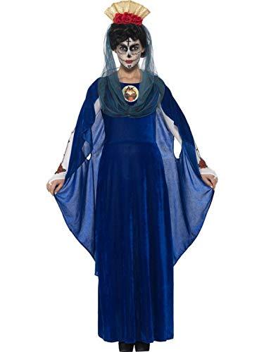 erdbeerclown - Damen Frauen Kostüm Tag der Toten heiligen Maria Kleid mit Haarreif und Schleier, Day of The Dead Saint Maria Dress, perfekt für Halloween Karneval und Fasching, XL, Blau