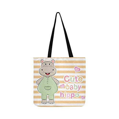 Nette Lächelnde Hippo Hippopotamus Leinwand Tote Handtasche Umhängetasche Crossbody Taschen Geldbörsen Für Männer Und Frauen Einkaufstasche -