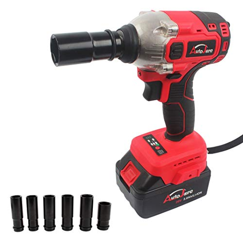 Autojare Battery Impact Wrench (20 V Max, 3000 mAh Li-ion, 1/2 inch, 260  Nm, Practical Illumination of The Working Area, a Battery, a Charger)