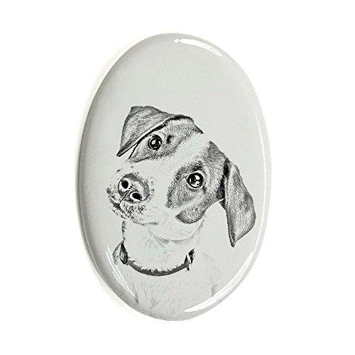 Jack Russel, Oval Grabstein aus Keramikfliesen mit einem Bild eines Hundes