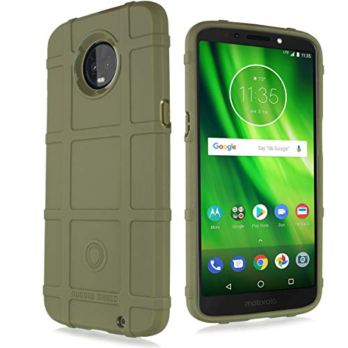 Kompatibel mit Moto G6, Motorola G6 16 GB 32 GB Handyhülle, mit [gehärtetem Glas-Displayschutz] Tactical Armor Rugged Shield Cover [Anti-Fingerabdruck, Texturiert], 5.7 inch, olivgrün - Gb 16 Galaxy Entsperrt S5