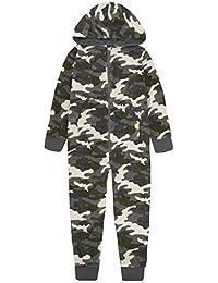 Onezee Kids Boys Camouflage Hooded Sleepsuit - Green & Blue Camo Fleece Jumpsuit