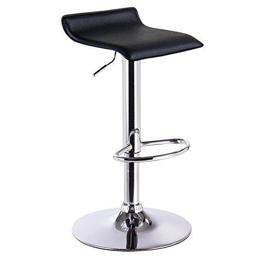 WOLTU BH11sz-1 Design Hocker Barhocker , stufenlose Höhenverstellung , verchromter Stahl , Antirutschgummi , pflegeleichter Kunstleder , gut gepolsterte Sitzfläche , Schwarz