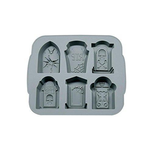 FOONEE Halloween Ice Form, 3D Flexible Silikon Eiswürfelform, Grabstein, Ice Cube Maker Form 6-Grid mit Deckel Grau (Grabstein Halloween Formen)