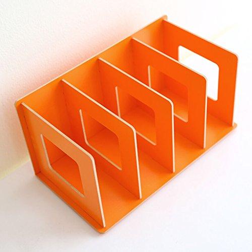 DFHHG® Creative Woody DIY Caja de almacenamiento de escritorio Libro Stand 30,5 * 15 * 17 Cm Oficina Negro durable ( Color : Naranja )