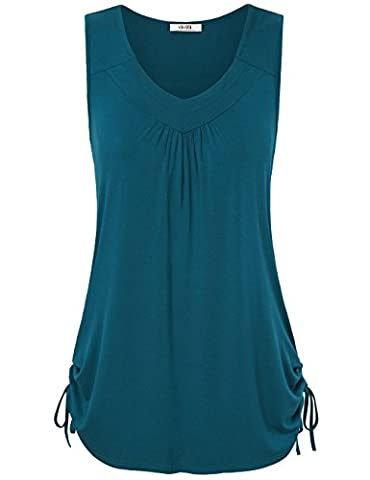 Work Blouses for Women,Vivilli Ladies Casual Plus Size Tops V Neck Sleeveless Vest Solid Basic Loose Tunic Shirts Dark Cyan XXL