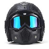 Vintage Helmet,Cruiser Motorrad-Helm |Qualitätshelm|Motorradhelm|Vintage-Stil mit Brille am Helm (55-64 cm)