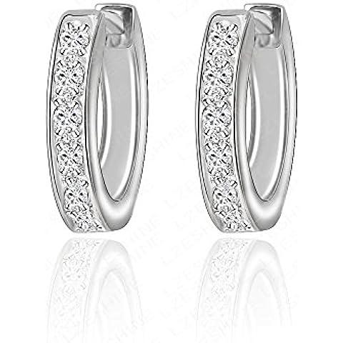 Nusey (TM) 2016Luxury orecchini a cerchio reale Platino placcato Cubic intarsiato orecchini delle donne rotonde Zirconia gioielli CER0032-B