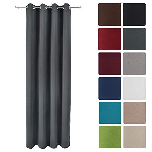 Beautissu tenda oscurante con occhielli serie amelie bo - 140x245 cm - antracite - per finestre e balconi