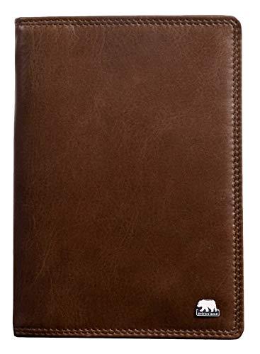 Leder Reise-brieftasche (Brown Bear Brieftasche Herren Leder Braun RFID Schutz hochwertig Doppelnaht Echtleder Tobacco Business Geldbörse Geldbeutel Männer Portemonnaie Portmonaise Portmonee Ledergeldbeutel Ledergeldbörse)
