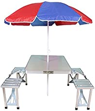 ISABELLA Heavy Duty Aluminium Portable Folding Picnic Table & Chairs Set With Umbrella