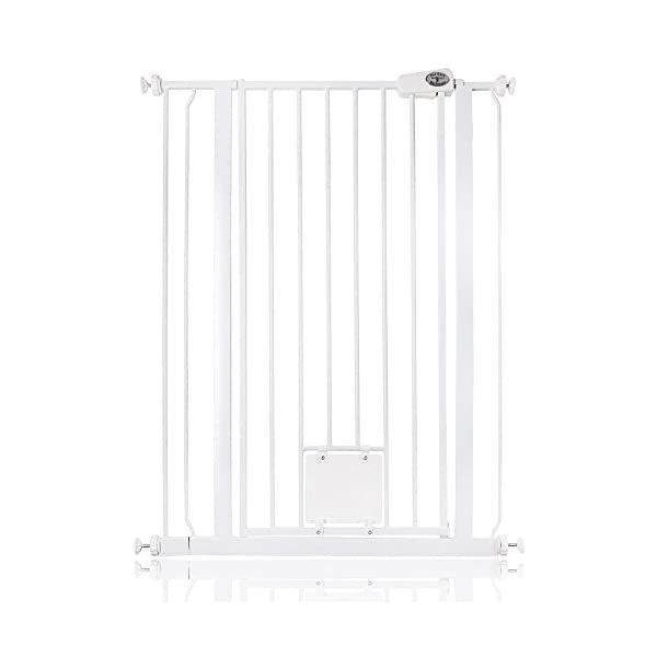 Bettacare Gate with Lockable Cat Flap Pressure Fitted Gate 75cm - 148.7cm Stair and Pet Gate (81.4cm - 89cm, White) Bettacare Pressure Fitted Double Locking Mechanism Fits a Standard Width: 75cm - 84cm 1