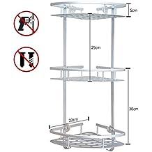 Organizador estantería esquinero adhesivo de 1,2,3pisos de ducha con cesta de aluminio, organizador con ganchos, accesorios de baño triangulares, 3-Tier