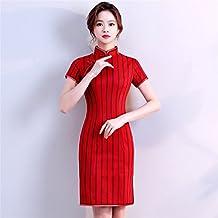 e253121c8 YAN Vestido de Mujer Vestido de Mujer Cheongsam Vestido Corto Chino Vestido  de Coctel de Qipao