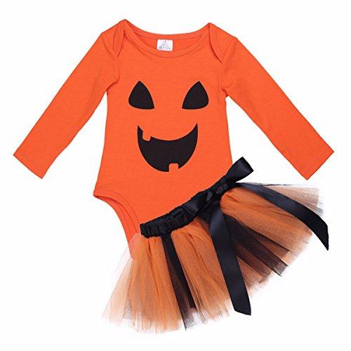 FEESHOW Baby Mädchen Outfits Set Spielanzug mit Tutu Rock Kürbis Anzug Outfits für Halloween 0-24 Monate Orange 62/0-3 (Monate Mädchen Halloween 03 Kostüme)