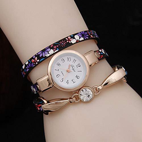 Powzz ornament Armbanduhren Wickelgürtel Uhr Ethnischen Windbreaker Strass Armbanduhr @ Lila - Ethnischen Spiegel