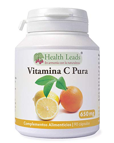 Vitamina C pura 650 mg x 90 cápsulas | Ácido ascórbico | Sin amortiguar y NO OGM | Apto...