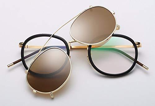 WSKPE Sonnenbrille Linse Abnehmbarer Polarisierte Sonnenbrillen Clip Auf Metall Brillen Sonnenbrille Braun Linse