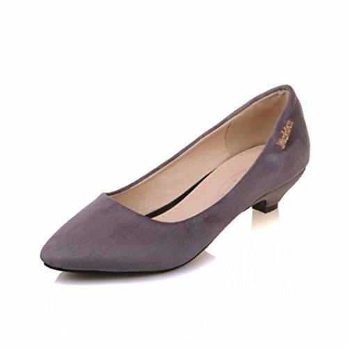 Plus Größe Karriere Tragen (Damen Pumps/Geschlossene Ballerinas/Riemchenpumps/der Big Size Damen Schuhe, Metallteile, Flache Schuhe, Heel Pumps Damenschuhe, Grau, 37)