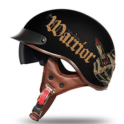 Halber Motorradhelm, Open Retro Harley Helm für Cruiser Scooter DOT Certified Men and Women,02,M