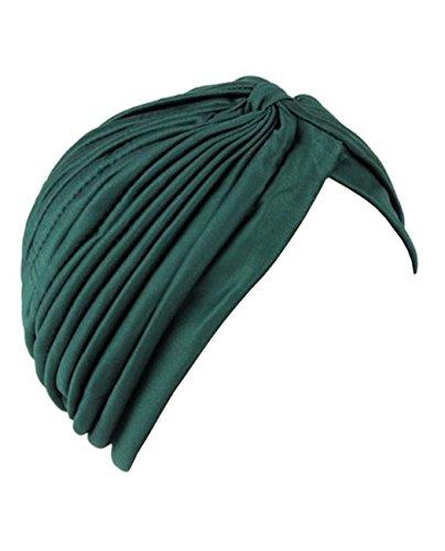 NYfashion101 Klassischer Turban Kopfbedeckung für Damen. Guter Tragekomfort. Ideal bei Haarverlust. MK5016-Jäger Grün