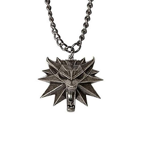 The Witcher 3 Collier Wild Hunt de Collectors Edition sorceleur tête de loup pendentif en alliage Collier homme