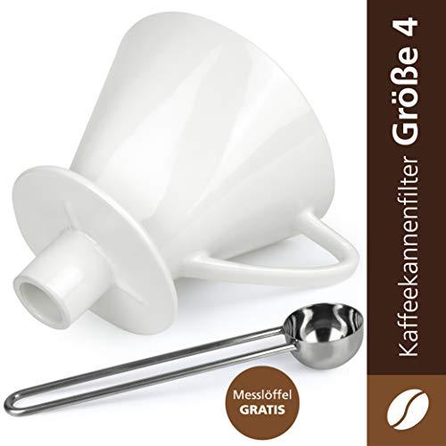 Caffé Italia Permanent Kaffeefilter für Kaffeekannen - Handfilter Kaffee für 2-4 Tassen - Porzellan Kaffeefilter - Dauerfilter für Kaffeefiltertüten der Größe 4 - weiß