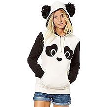 Mujer Sudaderas Con Capucha Elegante Invierno Otoño Panda Hoodies Tops Manga Larga Con Bolsillo Hippie Hipster Sweatshirts Niña Kawaii Casual Joven Pullover Sudadera Hoody