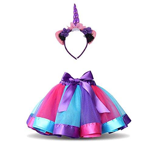 nbogen Kostüm Set, MFEU Regenbogen Pettiskirt Ballett Bowknot Rock Tutu Set, Einhorn Haarreif Haarband Kostüm für Tanz Party Karneval,S<1-3 Jahre Alt> (Kleinkind-reh-kostüm)