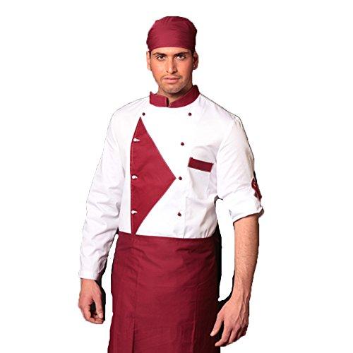 Kochjacke Fluo 4Jahreszeiten bordeaux und braun Restaurant Chef XXL bianco -