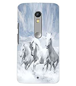 PrintDhaba HORSE PATTERN D-6242 Back Case Cover for MOTOROLA MOTO X PLAY (Multi-Coloured)